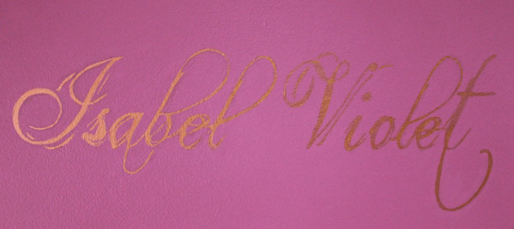 A closer look at the font and gold foil effect.